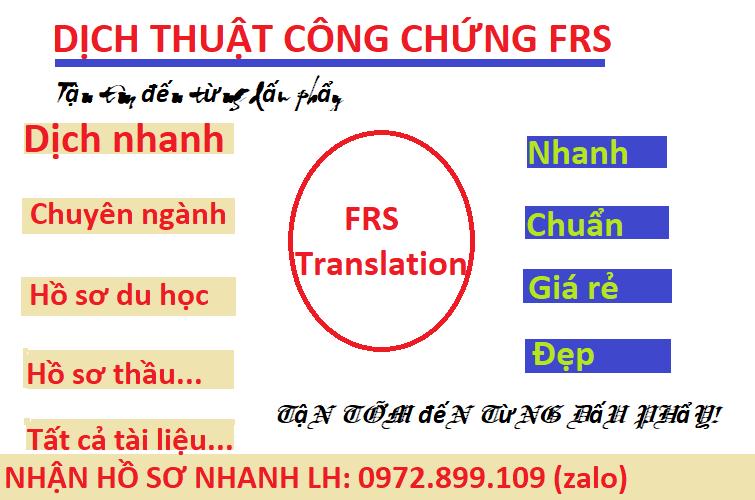 Dịch thuật công chứng FRS