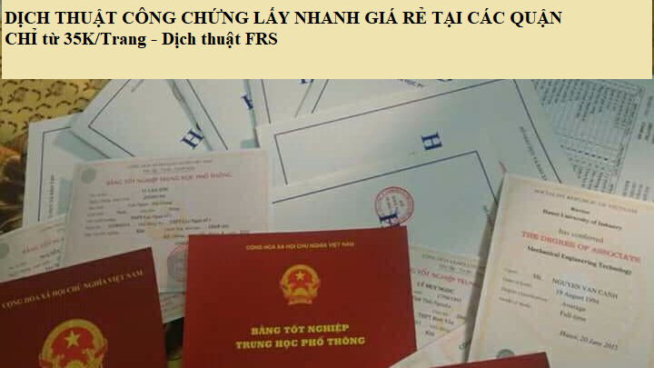 Dịch thuật công chứng các quận tại Hà Nội